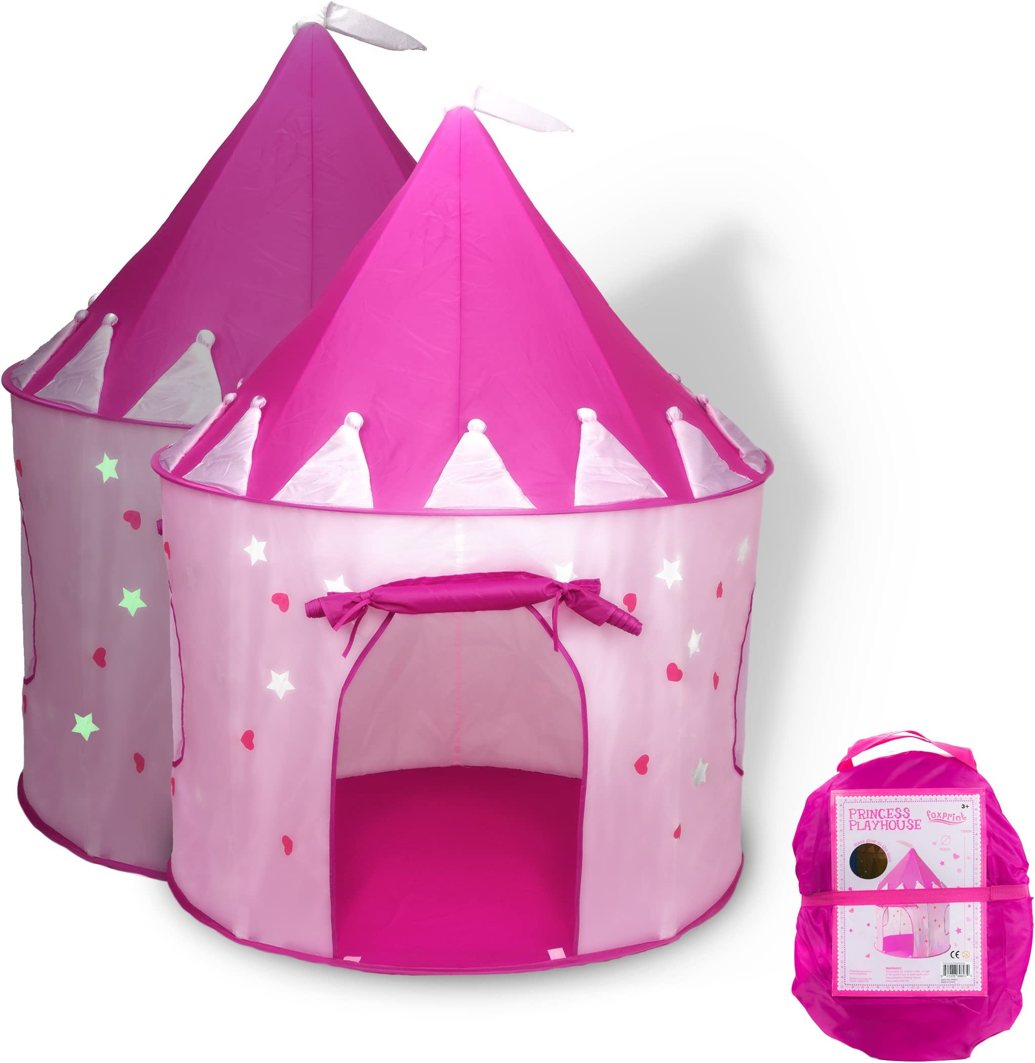 FoxPrint Princess Castle Play Tent with Glow in The Dark Stars conveniently Folds in to  sc 1 st  Amazon.com & Amazon.com: Play Tents u0026 Tunnels: Toys u0026 Games