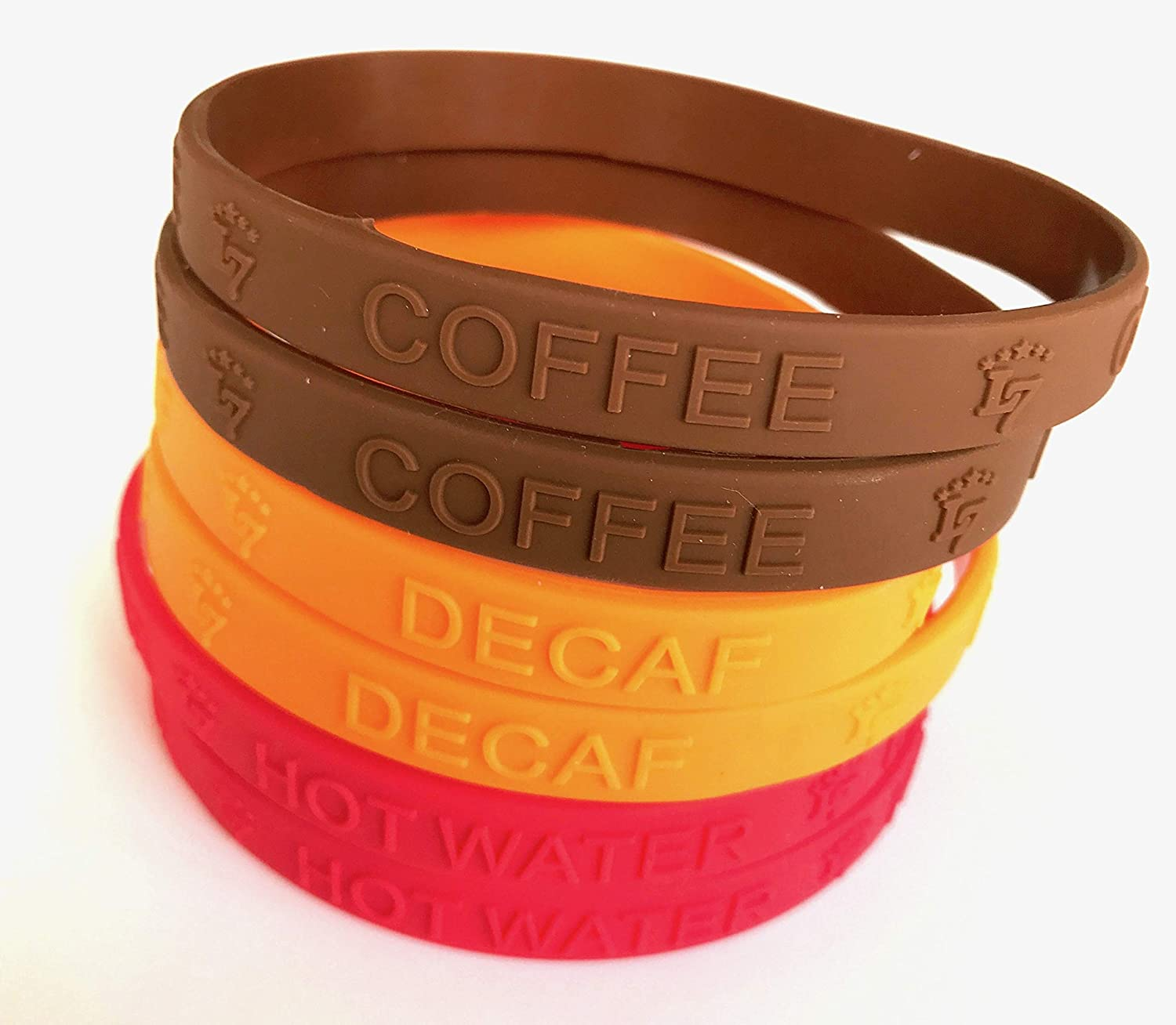 2 Brown L7 Carafe ID Bands - 100/% Silicone 3-color 2 Red 2 Orange BPA Free