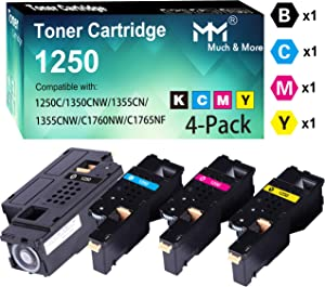 (4-Pack, K+C+M+Y) Compatible Dell 810WH 1250 Toner Cartridge Used for Dell 1250c 1350cnw 1355cn 1355cnw C1760nw C1765nf C1765nfw Printer, by MuchMore