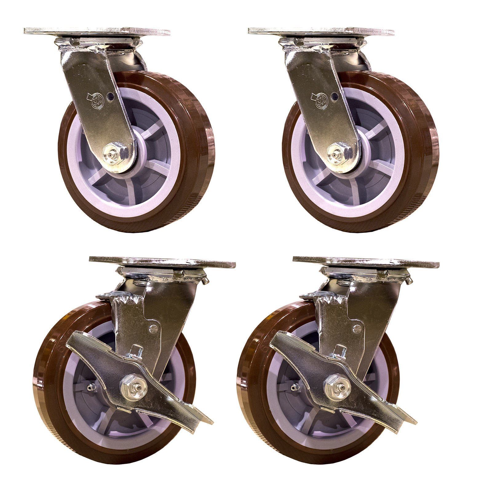 Service Caster SCC-30CS620-PPUR-2-TLB-2 Heavy Duty Polyurethane Swivel Casters with Brake, 6'' Size (Pack of 4)