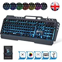 KLIM Lightning Semi Mechanical Gaming Keyboard - Wired USB - LED 7 Colors Light - Metal Frame - Ergonomic, Quiet - Black RGB PC PS4 Windows Mac Keyboards - Office Semi Mecanical Keys
