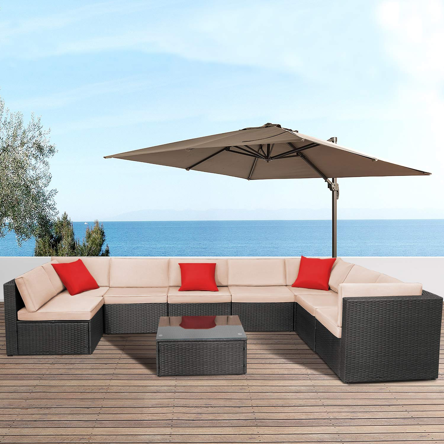 Devoko 9 Pieces Outdoor Patio Sectional Sofa All-Weather Patio Furniture Sets Manual Weaving Wicker Rattan Patio Conversation Set with Cushions and Glass Table Brown