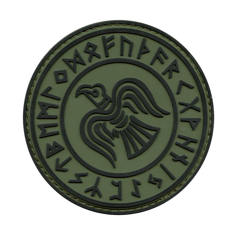 Olive Drab OD Rare Norse Viking Raven Runes Odin God of War Morale PVC Rubber 3D Hook-and-Loop Patch 2AFTER1 P.1792.2.V
