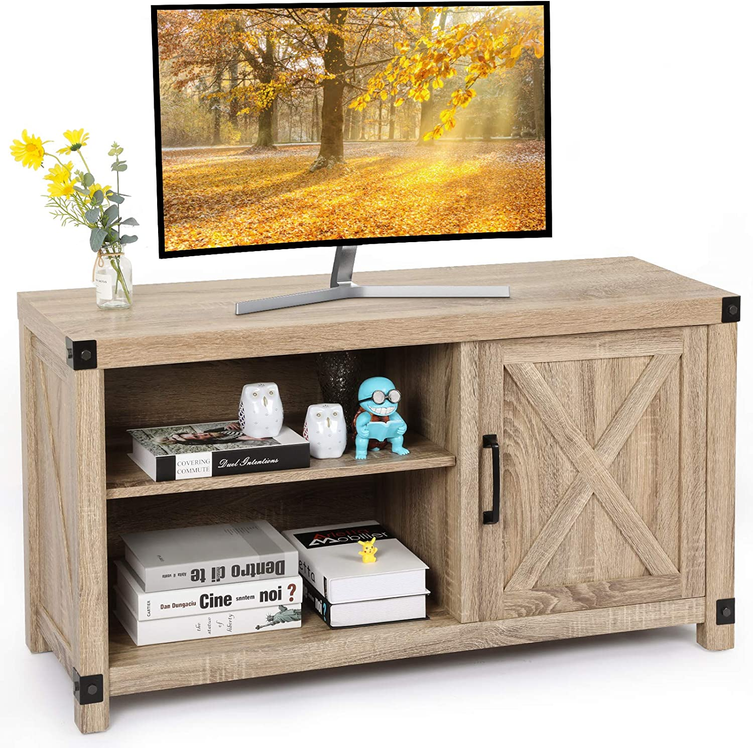 TV Console Cabinet for TVs up to 50 Inch W/Media Shelves, Farmhouse TV Stand Style Entertainment Center for Soundbar or Other Media, Barn Door TV Stand with Storage for Living Room Bedroom, APRTS03L