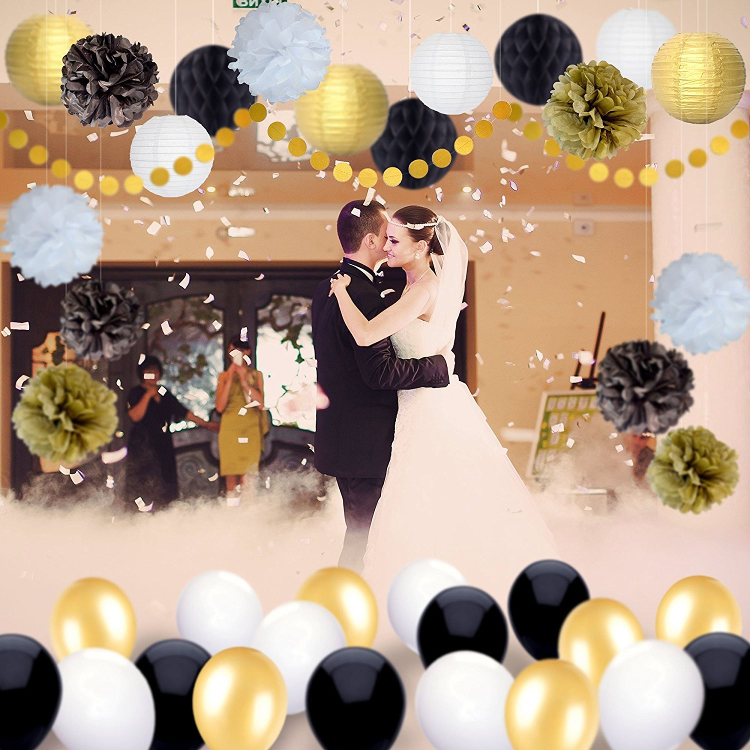 Happy New Year Party Decorations Black White Gold Tissue Paper Pom Pom Paper Lanterns for Great Decorations// New Years Eve Party //Birthday Decorations//Bridal Shower Decorations