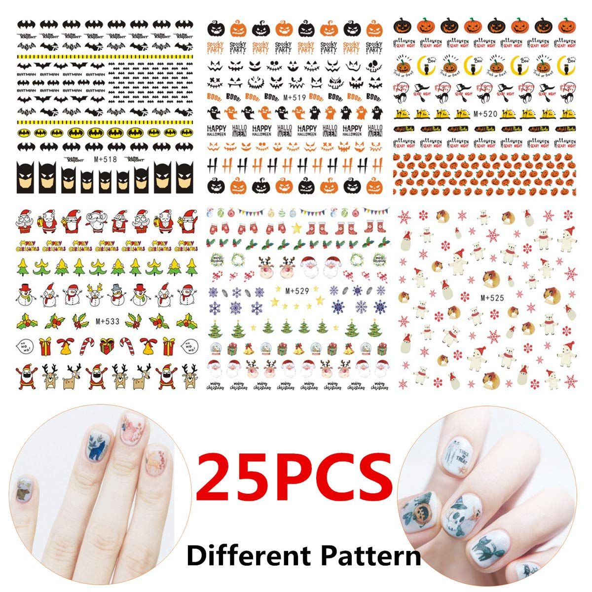 StyleZ 25 Sheets Nail Art Stickers Christmas Halloween Party Multi Different Styles Pattern DIY Nail Art Decals by StyleZ