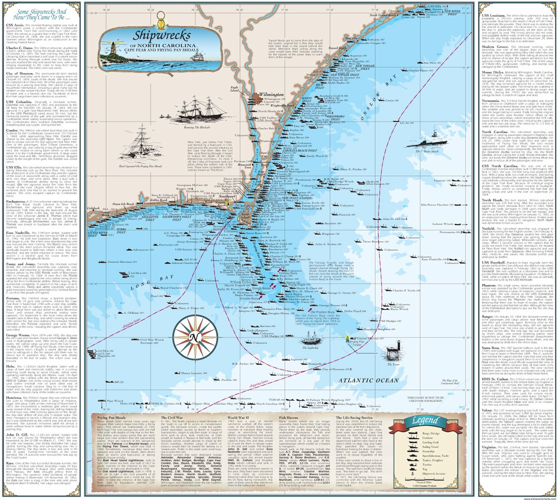 Amazon Three North Carolina Shipwreck Chart Bundle Cape