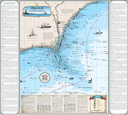 Amazon Com North Carolina Shipwreck Chart Cape Fear Frying Pan