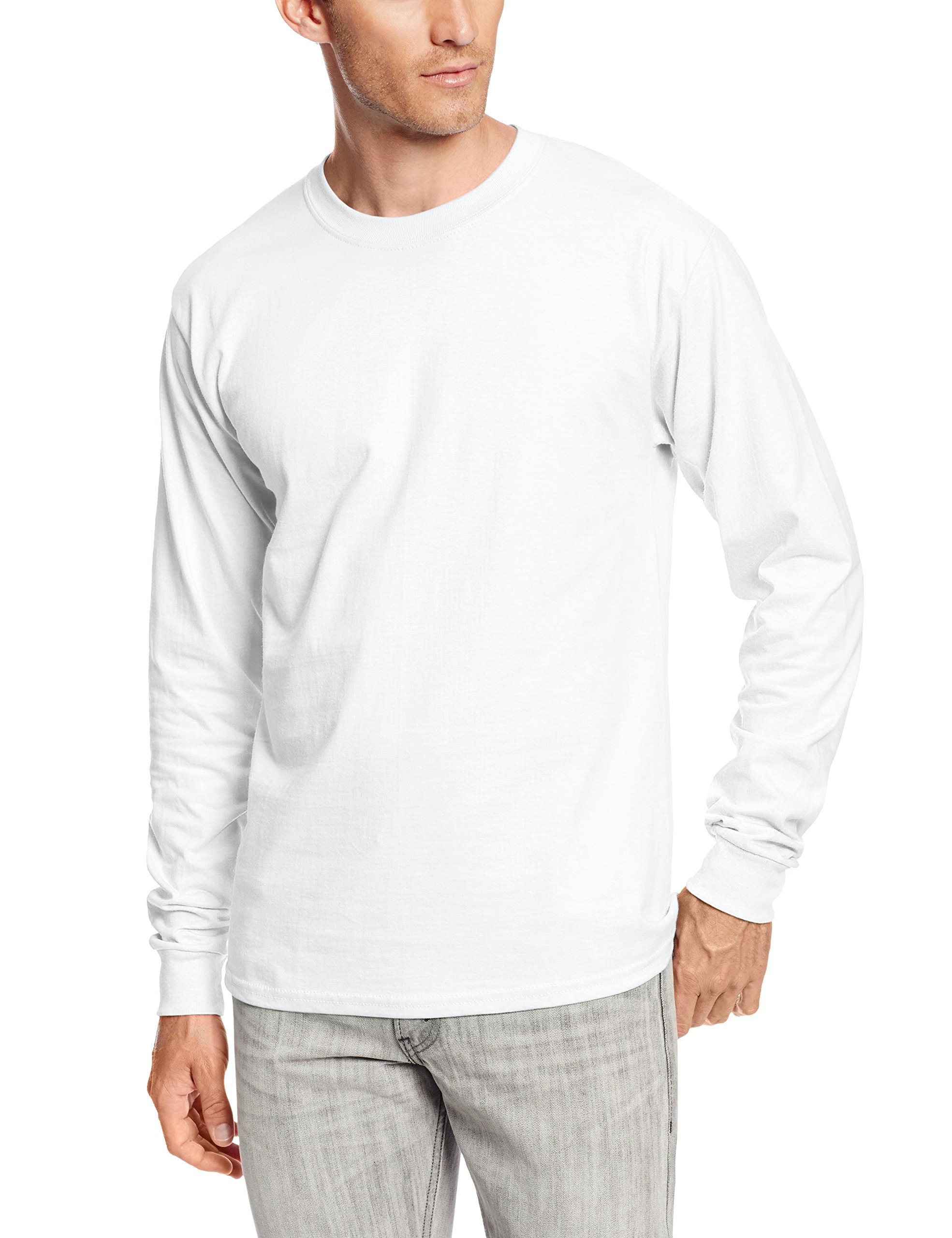 Hanes Men's Long Sleeve Beefy-T Shirt, White, Large (Pack of 2)