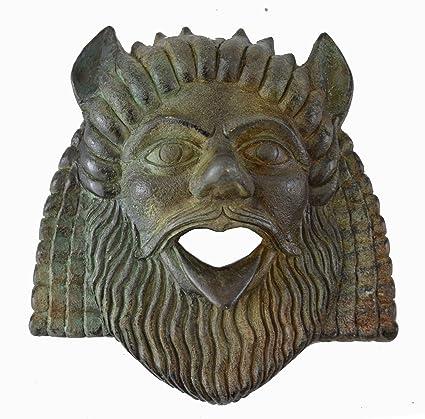 Sátiro pequeña máscara con color bronce efecto – compañero de Dioniso – Teatro griego de la