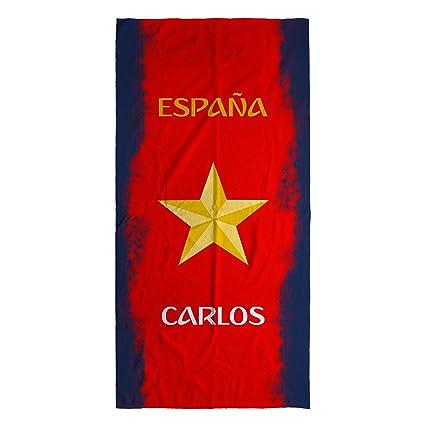 Lolapix - Toalla Selección Española personalizada de algodón España Azul. Mundial de Fútbol Rusia 2018