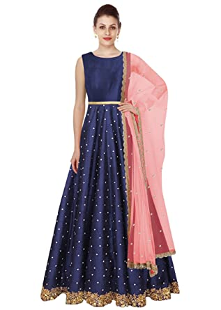 e250553a0f1d3 Fabron Navy Blue Banglori Silk Embroidered Party Wear Long Gown With Dupatta  Set: Amazon.in: Clothing & Accessories