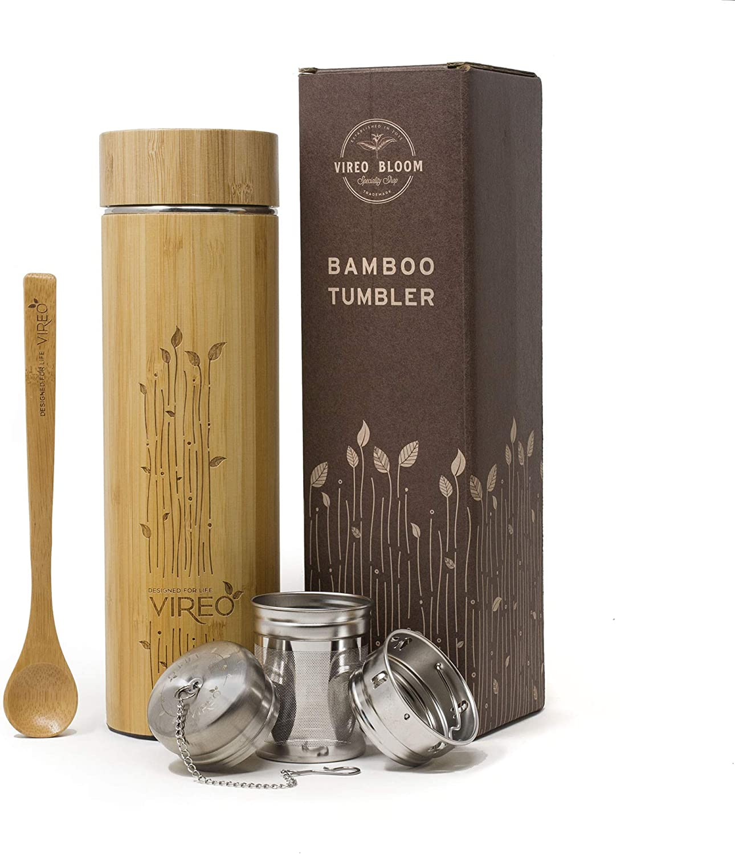 Vireo Bloom Botella Aislante Térmico con Colador de Té - Taza Térmica Taza de Bambú - con Colador de Té y Tapa Botella de Acero Inoxidable - Eco Termo Máquina Fabricante de Té