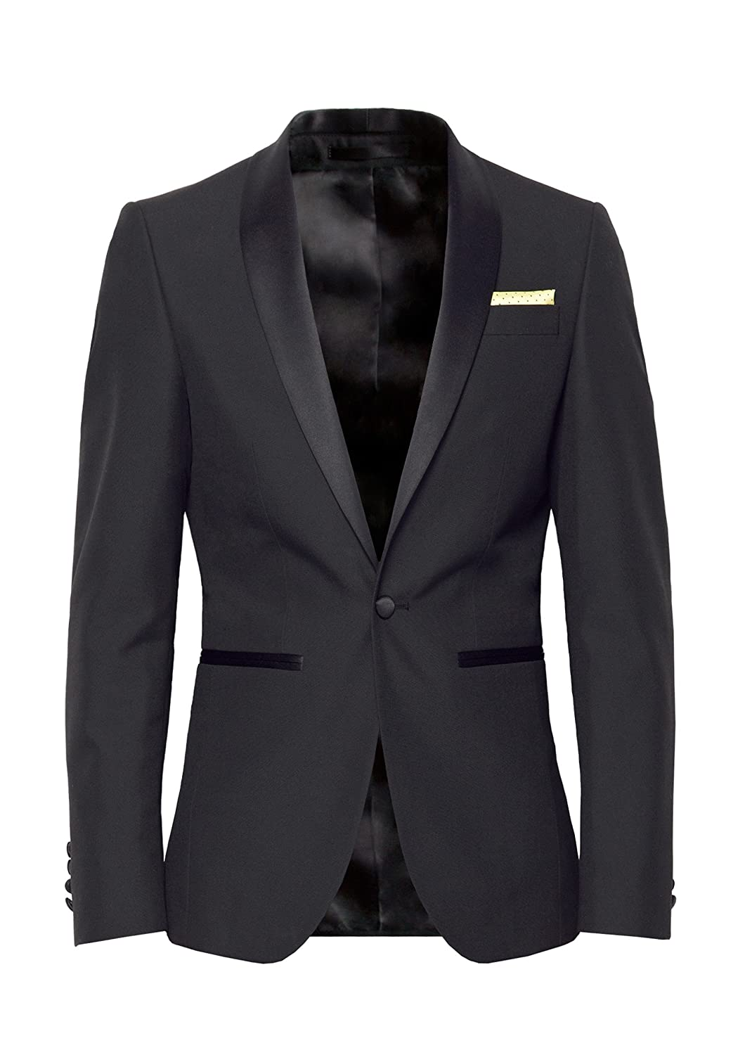 Johnny Tuxedo - Slim Fit Single-Breasted Dinner Tuxedo Jacket with Shawl Lapel and One-Button Fastening - Perfect for Proms, Wedding Receptions & Black Tie Events