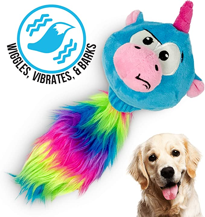 Hyper Pet Doggie Tail Interactive Plush Dog Toys Wiggles, Vibrates, and Barks /– Dog Toys for Boredom and Stimulating Play,Color Varies