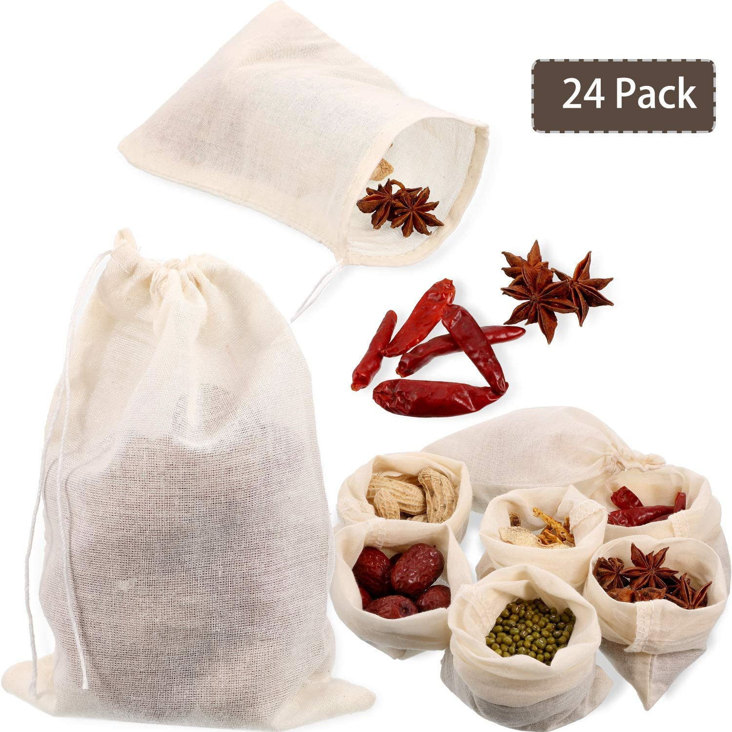 24 Pieces Reusable Drawstring Cotton Soup Bags, Muslin Bag, Straining Cheesecloth Bags Soup Gravy Broth Brew Stew Bags for Coffee Tea Bone Broth(4 x 6 Inch)