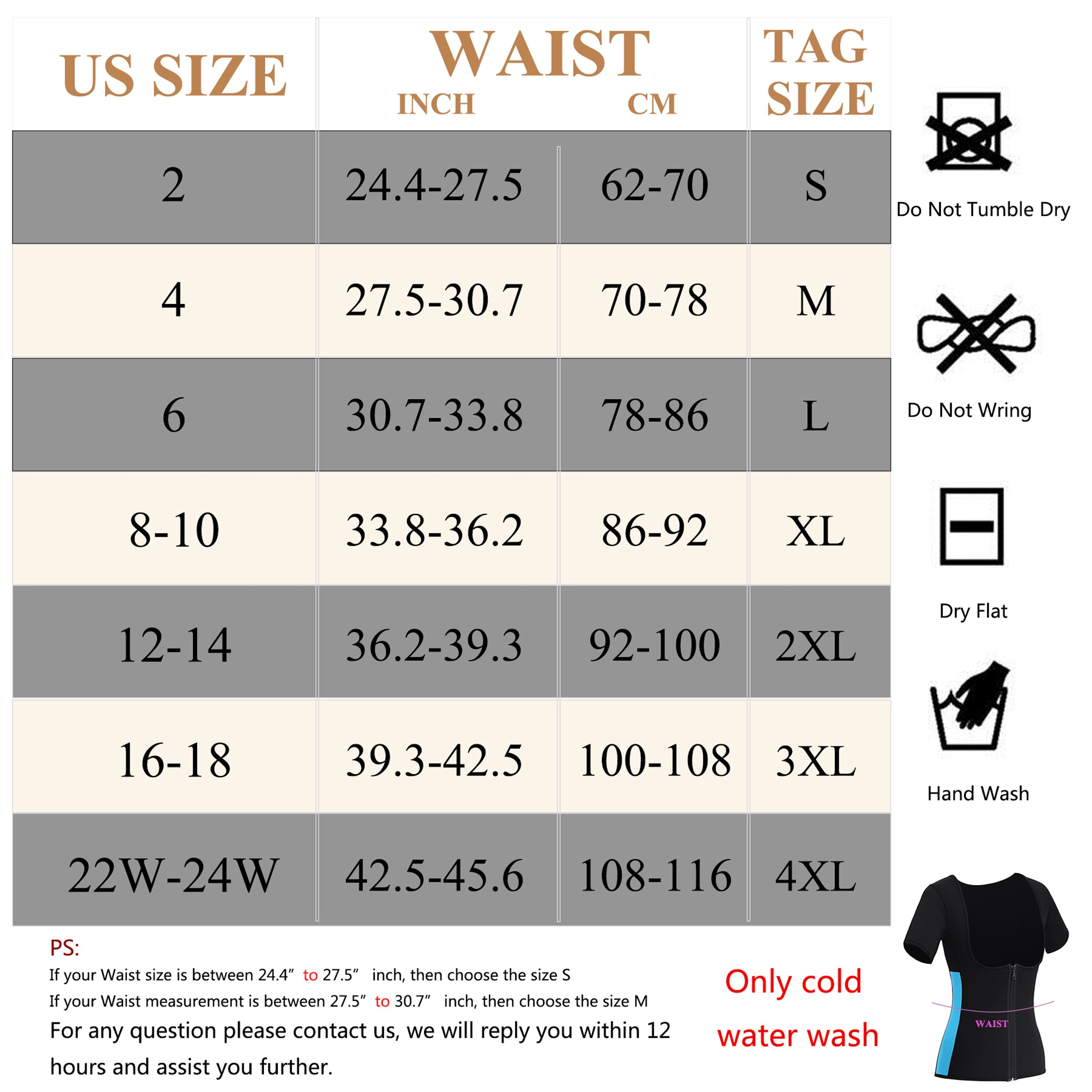 Gotoly Women Neoprene Zipper Front Hot Sweat Slimming Shirt Vest Body Shapers(M Fit 27.5-30.7 inch Waistline, Black) by Gotoly (Image #7)