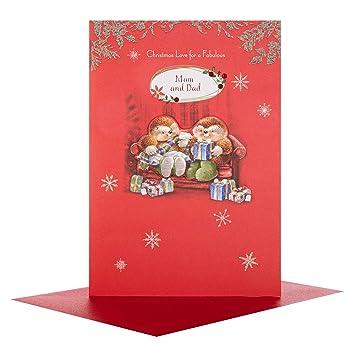 Mam and Dad Hallmark Medium Cute Christmas Card /'Forever Treasured/'
