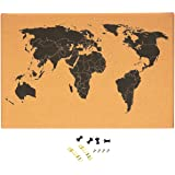 Amazon cork board world travel map with pins by art of cork board map of the world wall mount bulletin board with detailed world map gumiabroncs Gallery