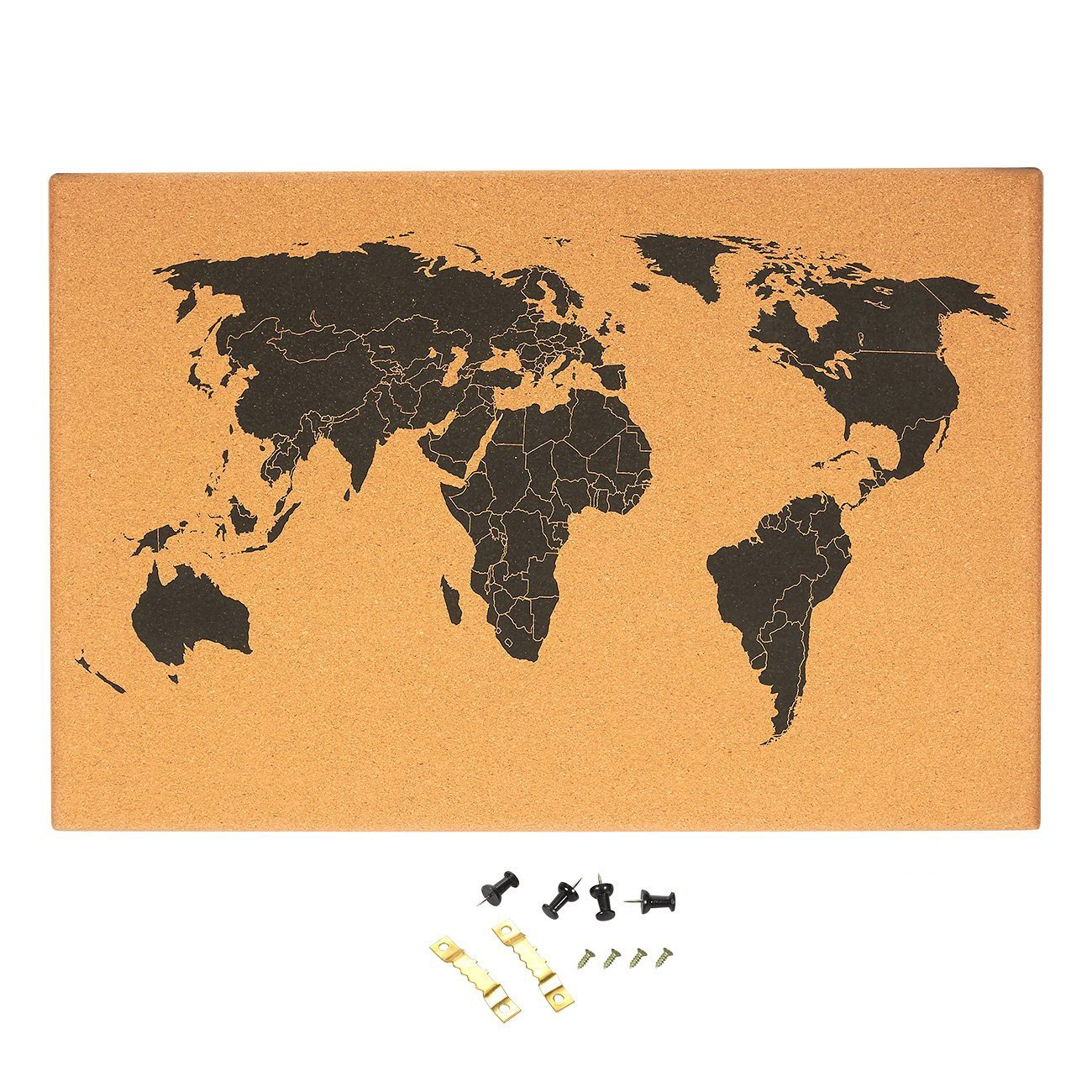 Cork board map of the world wall mount bulletin board with cork board map of the world wall mount bulletin board with detailed world map gumiabroncs Choice Image