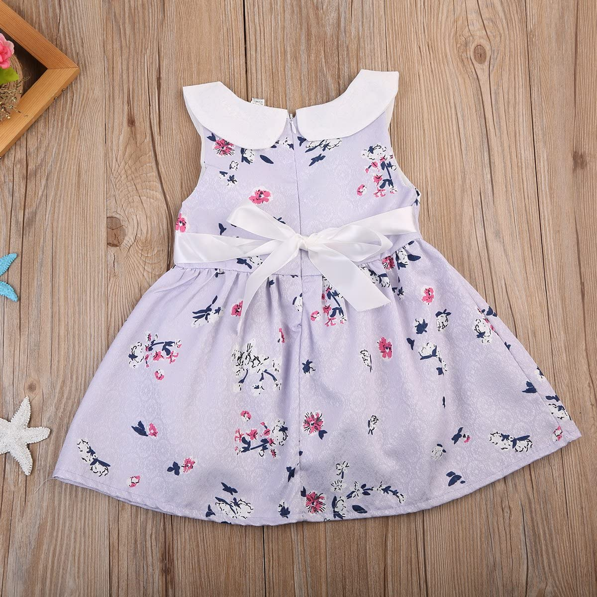 Infant Baby Girl Summer Floral Princess Tutu Dress Collared Sleeveless Sundress