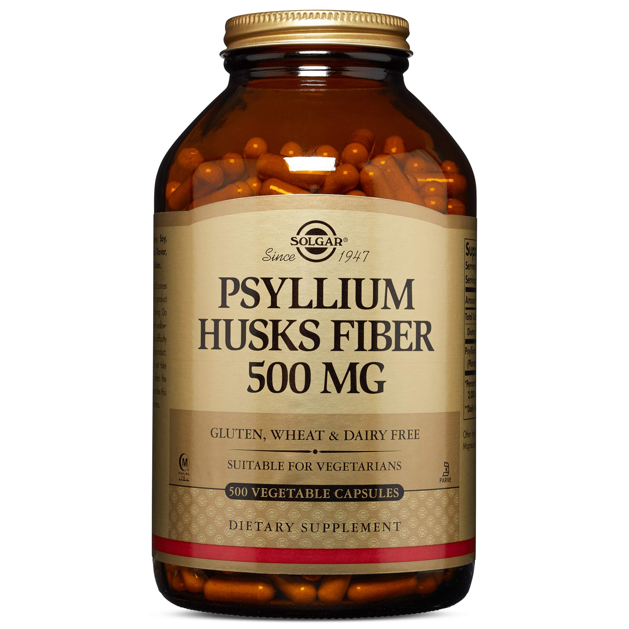 Solgar - Psyllium Husks Fiber 500 mg, 500 Vegetable Capsules by Solgar