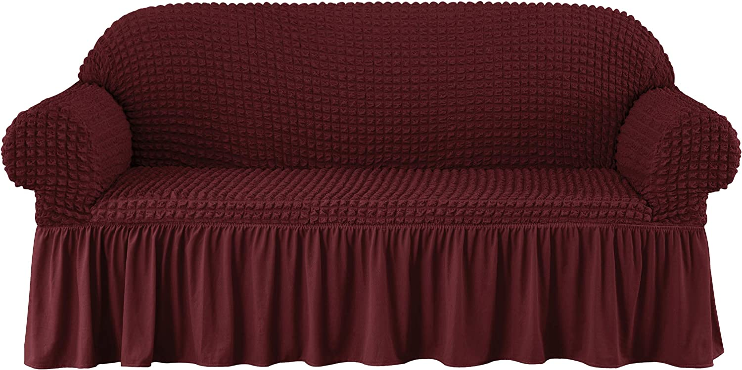 subrtex 1 Piece Seersucker Sofa Slipcover with Skirt Universal Stretch Sofa Couch Slipcover Easy Fitted Anti-Slip Chair Furniture Protector (Large,Wine)