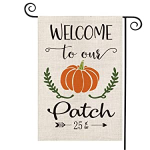 AVOIN Welcome to Our Pumpkin Patch Garden Flag Vertical Double Sized, Fall Autumn Harvest Vintage Rustic Burlap Yard Outdoor Decoration 12.5 x 18 Inch