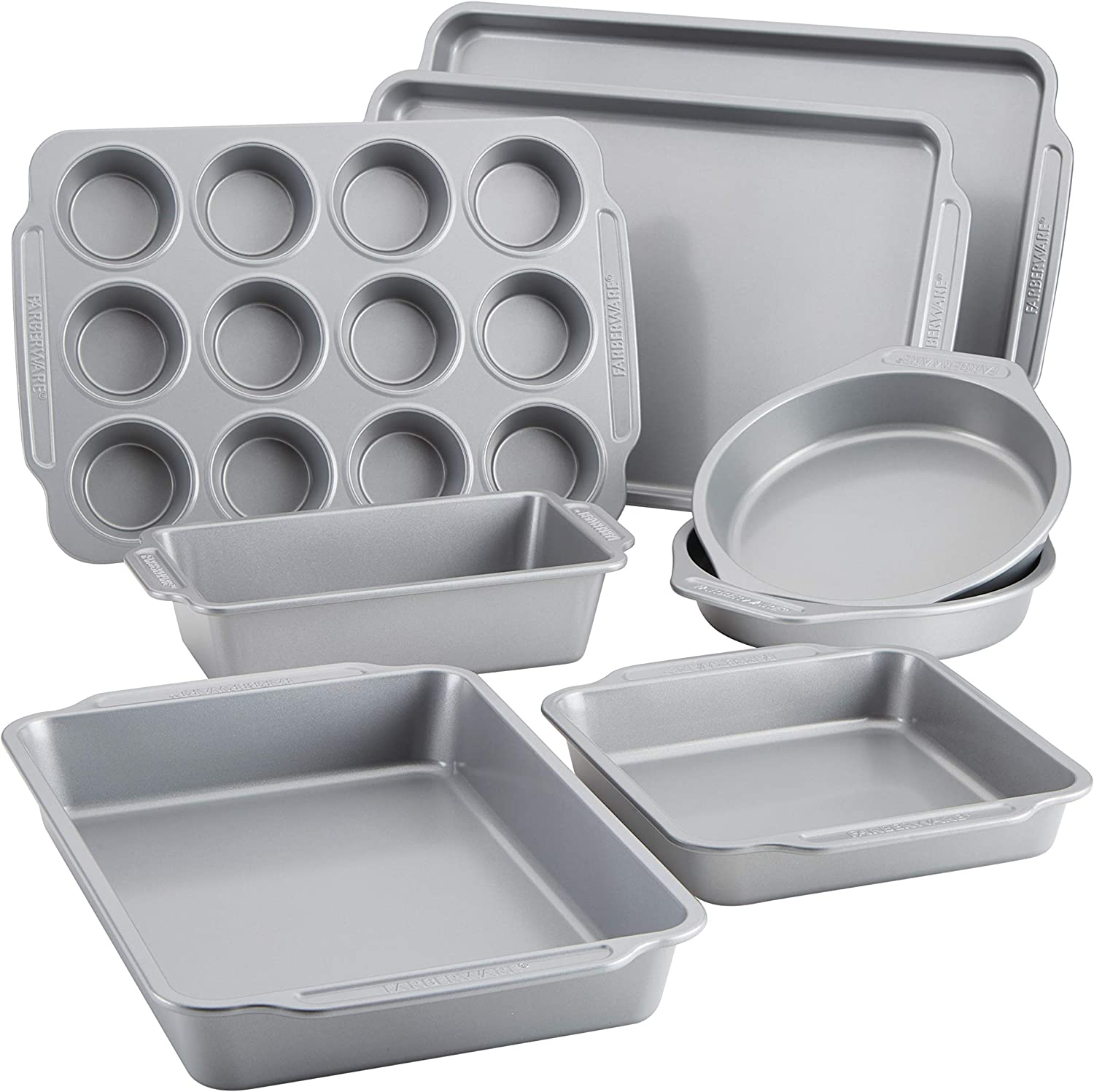 Farberware Includes Nonstick Cookie Sheets/Baking Cake Muffin and Bread Pan, 8 Piece, Gray