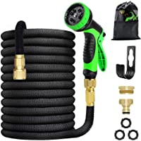 """MegiKio 15M Expandable Garden Hose -10 Function Leakproof Spray Nozzle and 3/4"""" Solid Brass Fittings - Durable and…"""