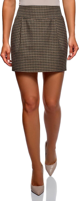 oodji Ultra Mujer Falda Corta con Bolsillos, Marrón, ES 36 / XS