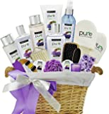 PURE Spa Basket! Mothers Day Lavender Coconut Extra Large Spa Gift Basket. Pampering Holiday Gifts for Women!