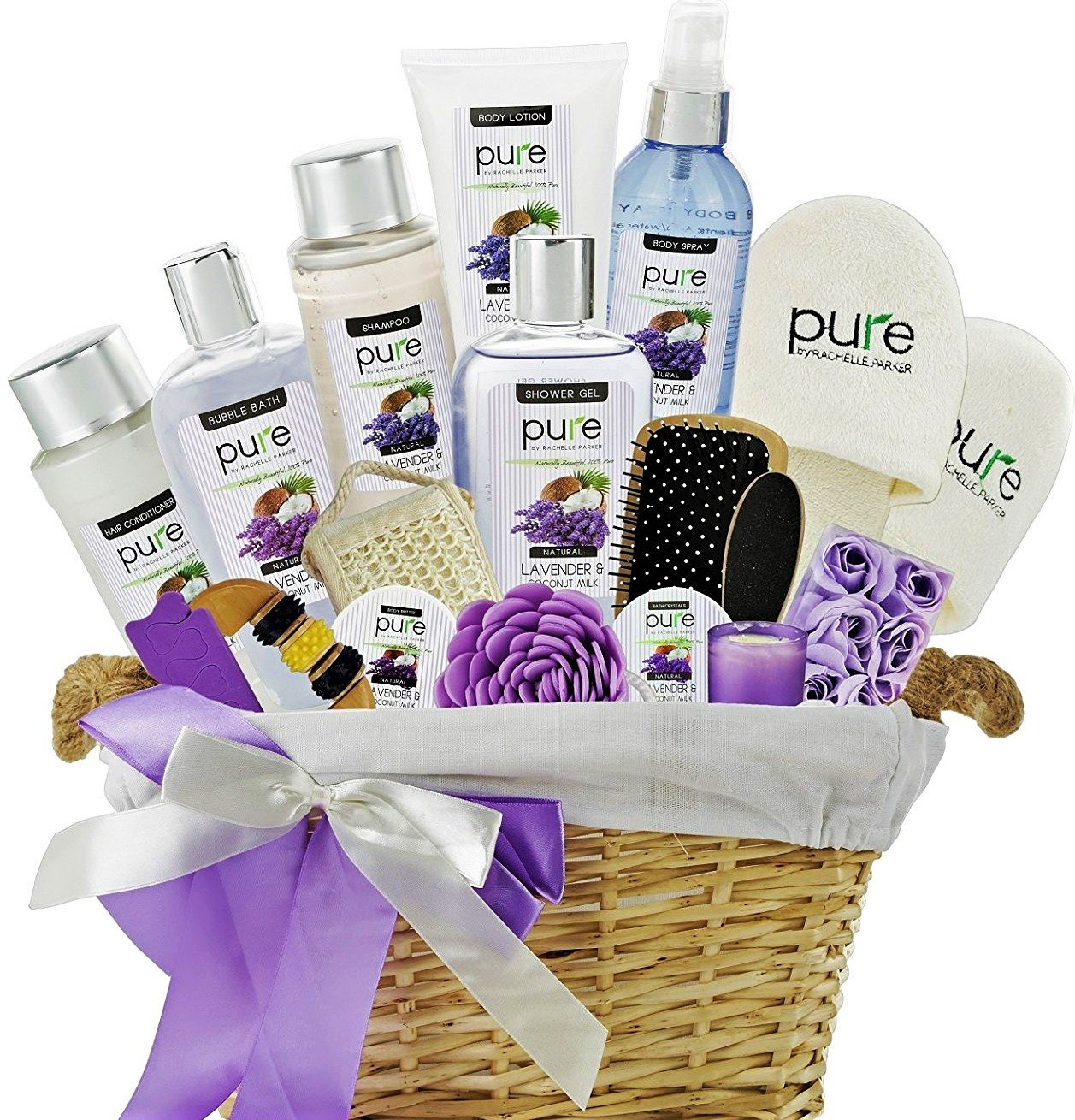 Lavender Spa Gift Basket for Women - Extra Large Bath Gift Set with Lavender Essential Oil & Coconut Milk for Relaxation Gift & Pampering Bath & Body Gifts Pure by Rachelle Parker