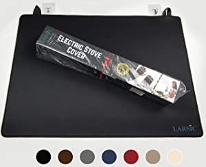 """Larsic Stove Cover - Thick Natural Rubber Sheet Protects Electric Stove Top. 28.5 x 20.5"""" Black. Anti-Slip Coating, Waterproof, Heat Resistant, Foldable. Prevents Scratching, Expands Usable Space"""