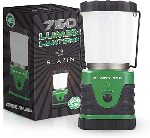 Blazin 750 Brightest Battery Powered Lantern LED Camping Hurricane Battery Operated Light Anti Glare Soft Light Cap 360 Degree COB Bulbs 4 Mode 100 Hour 3 D Batteries Green