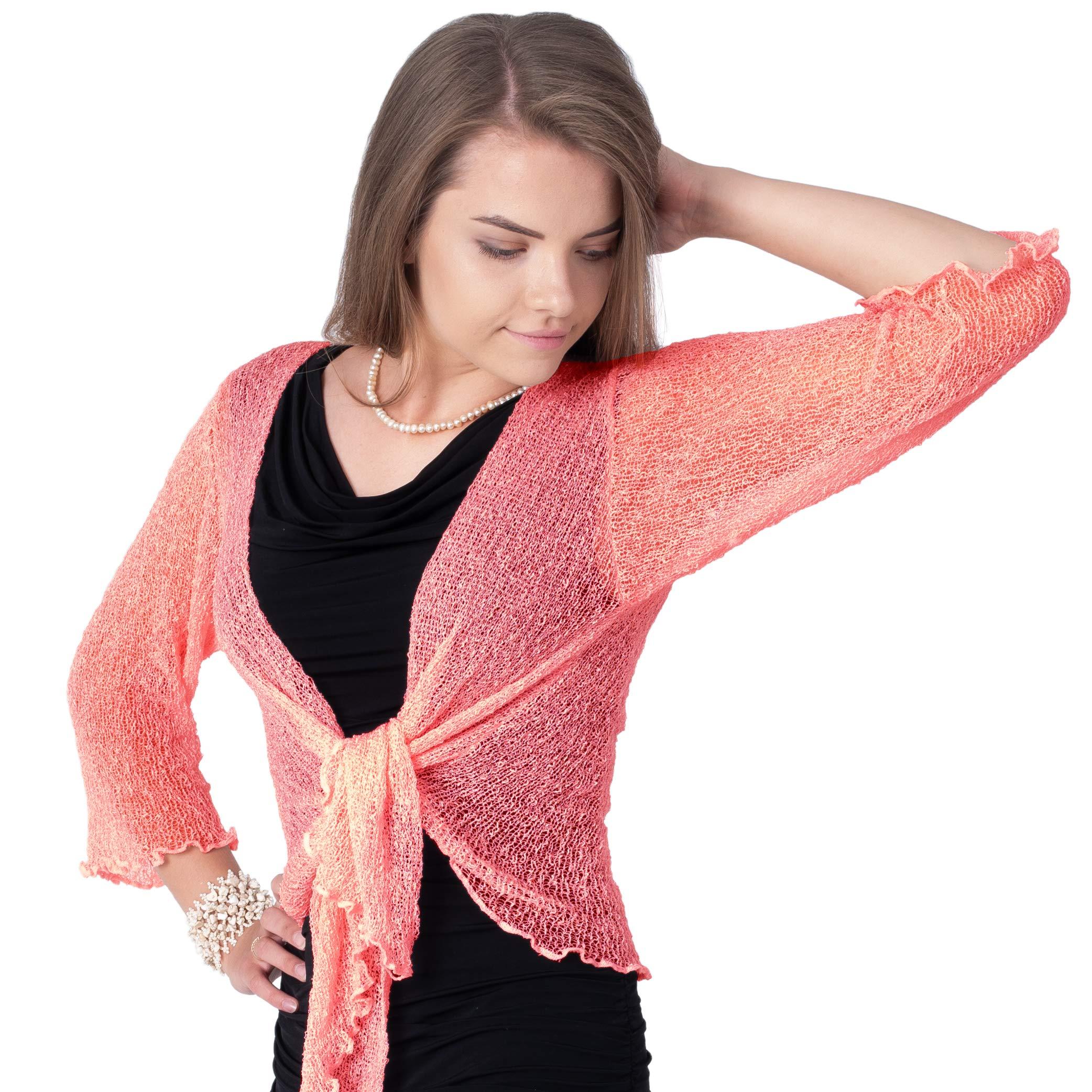 Boho Village Lightweight Cardigans for Women - 3/4 Sleeve Shrugs for Dresses. Dark Pink/Salmon Pink Size S-XL by Boho Village (Image #4)
