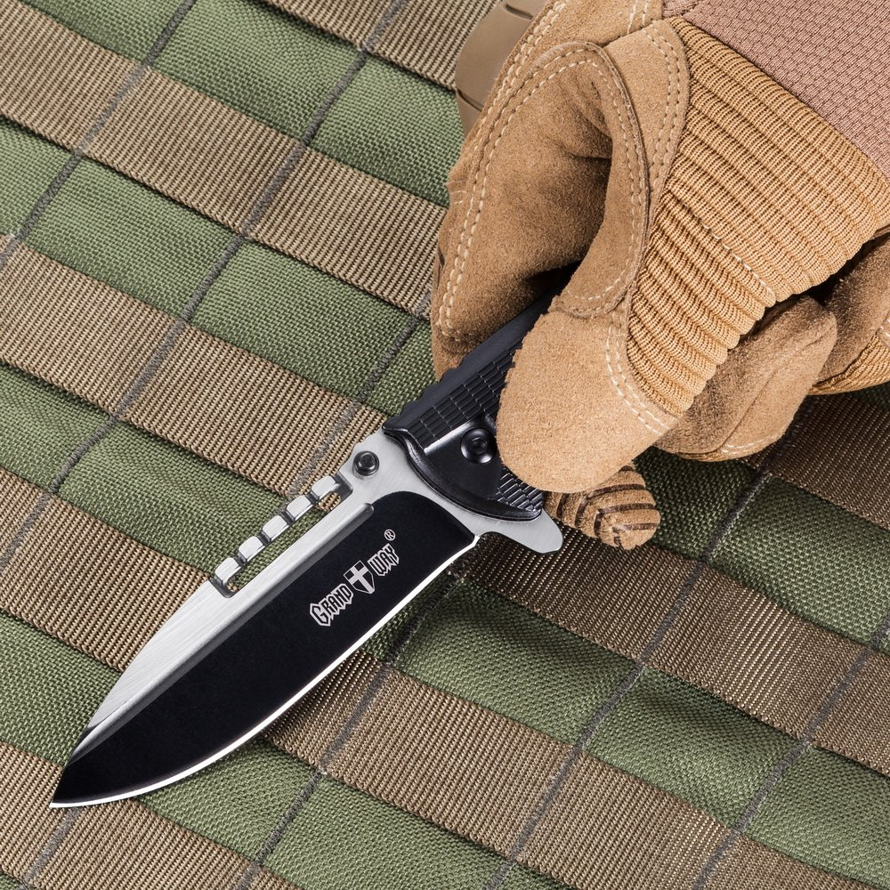 Spring Assisted Pocket Knife - Best Outdoor Camping Hunting Bushcraft EDC Folding Knife - Tactical Paracord Survival Military Foldable Knife - Stainless Steel Pocket Knives w/ Clip for Men Women BLACK by Grand Way (Image #7)