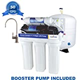 NURFILTER 50-gpd RO Drinking Water Filtration System with BOOSTER Pump IDEAL for LOW PRESSURE HOME 5-Stage Ultra Safe GREAT Under Sink Reverse Osmosis Modern FDA Faucet Installation kit 3.2g NSF Tank