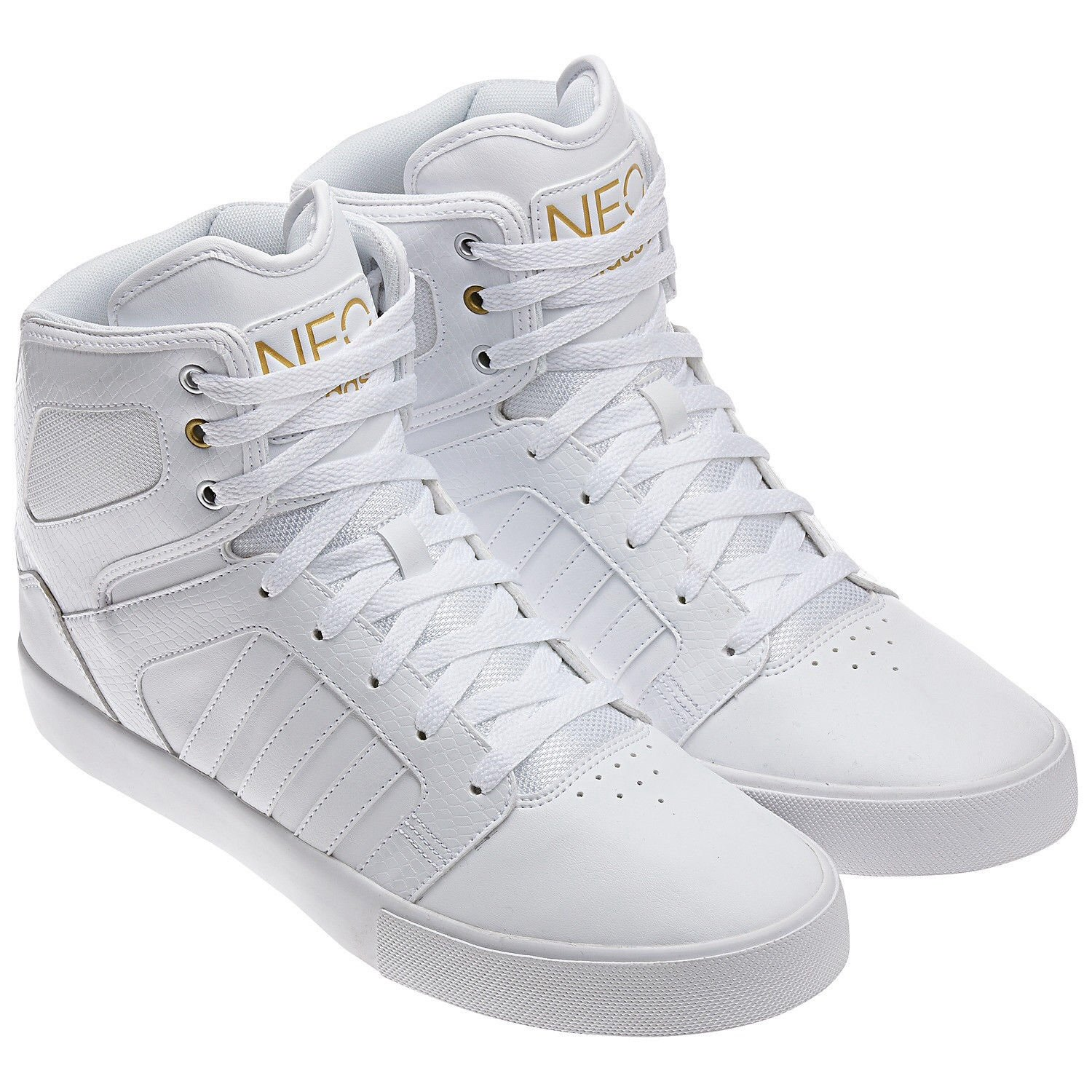 best loved d3b78 f79fc ... inexpensive galleon adidas neo bbneo hi top ortholite q38754 white gold  leather whiteout mens shoes size