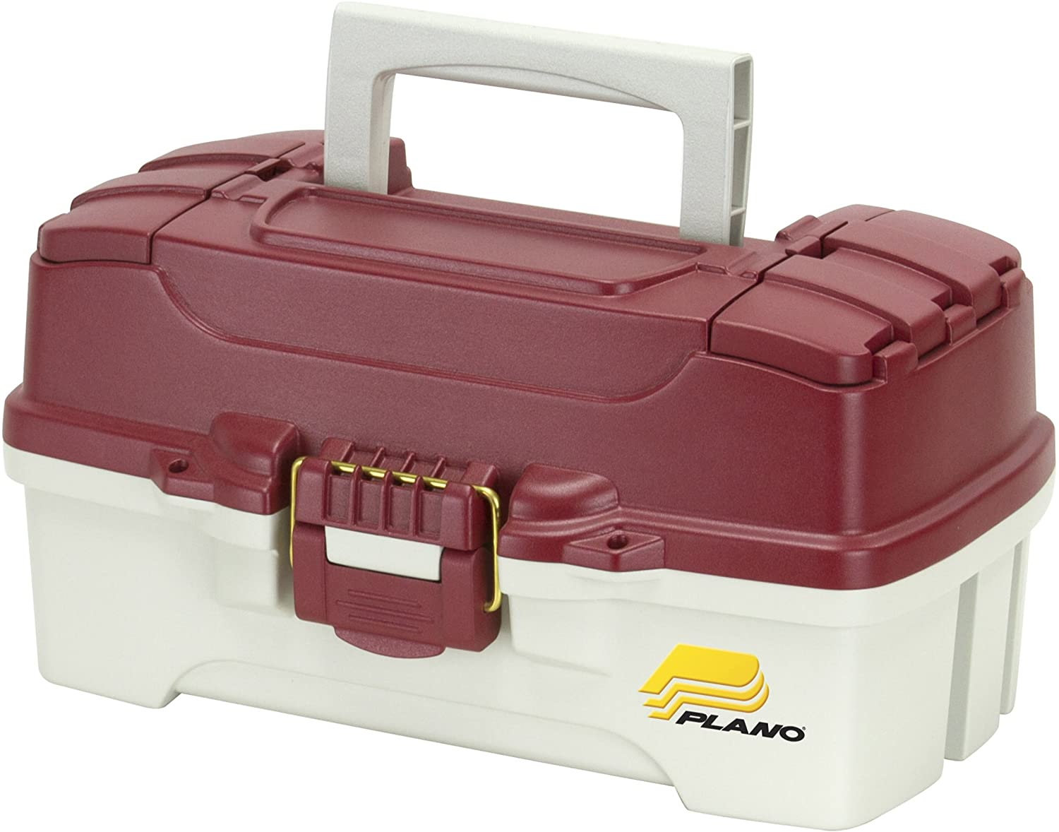 Plano 1-Tray Tackle Box with Dual Top Access, Red Metallic Off White, Premium Tackle Storage