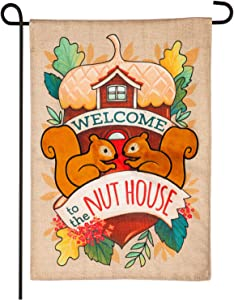 Evergreen Flag Indoor Outdoor Décor for Homes Gardens and Yards Welcome to The Nut House Garden Burlap Flag