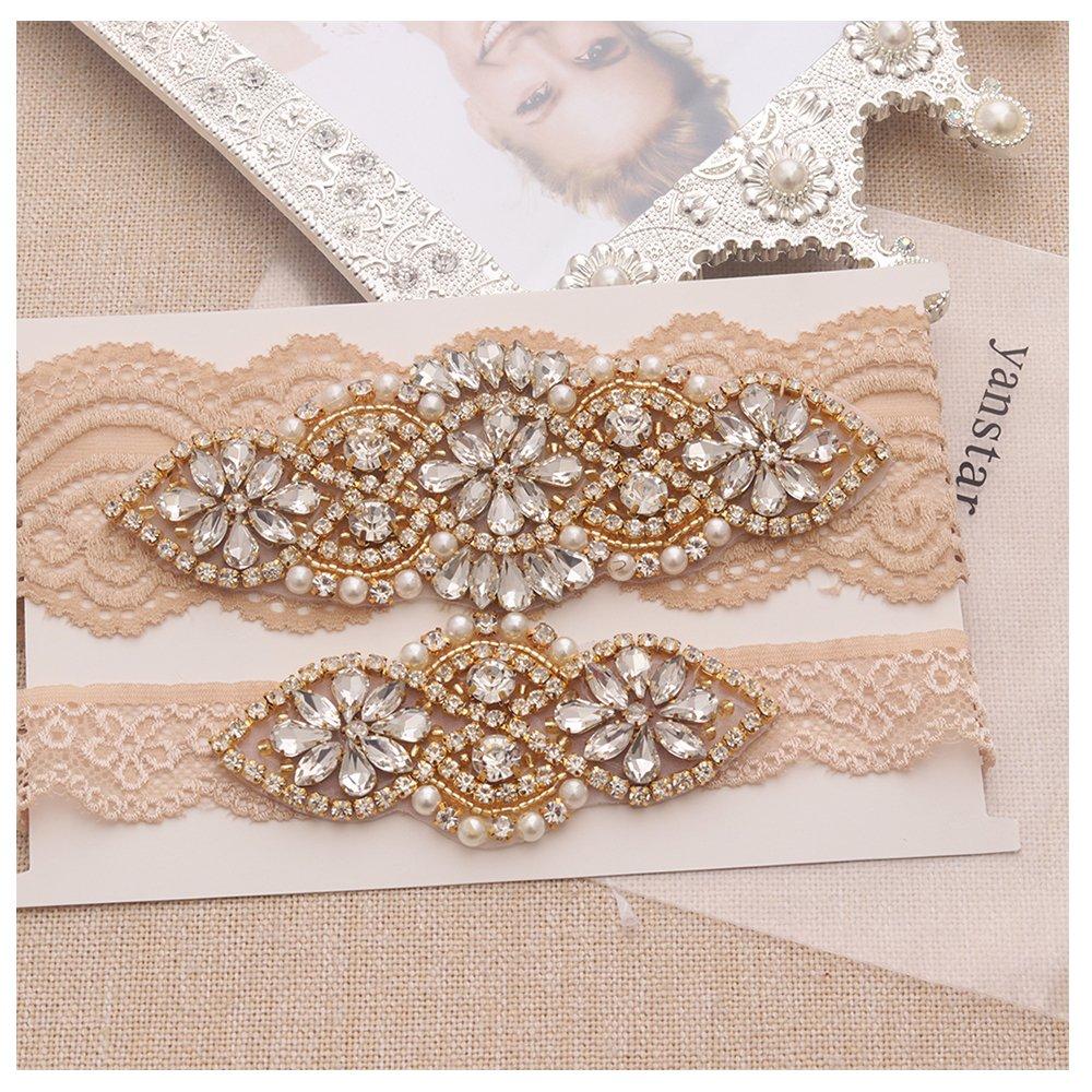 anstar Bridal Garter Champange Stretch Lace Bridal Garters With Gold Rhinestones For Weddings