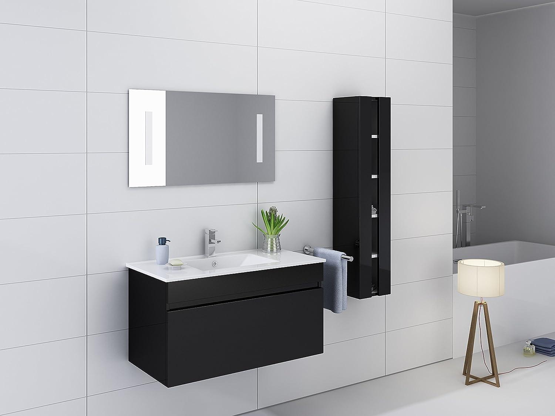 Kokss 32 wall mount Black Gloss Vanity, White ceramic sink, Wood ...