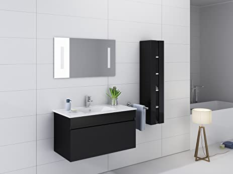 kokss 32 wall mount black gloss vanitywhite ceramic sink wood thermofoil cabinet