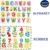 Wish key Wooden English Alphabet A to Z and Number Shapes with Early Educational Board for Kids