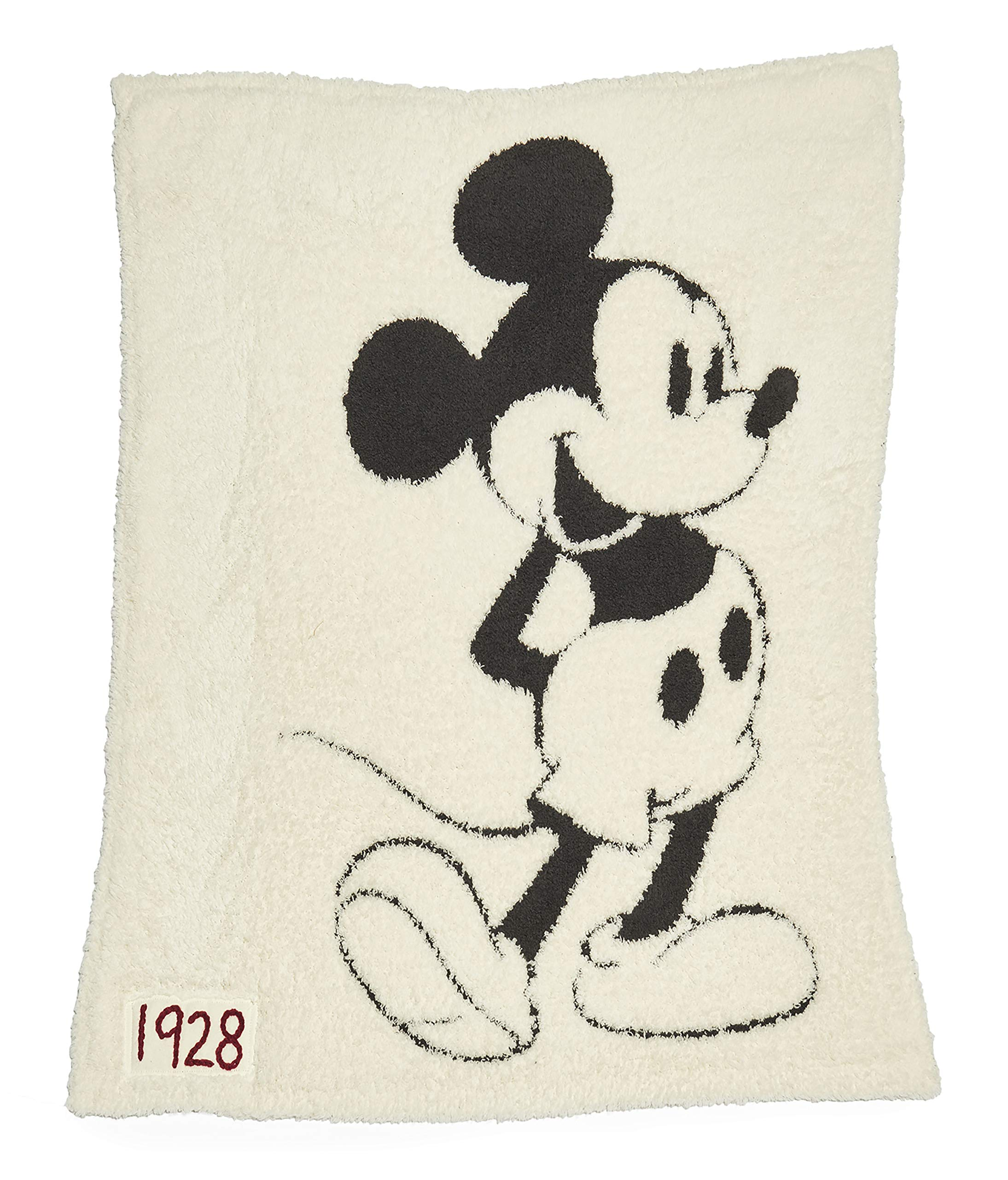Barefoot Dreams CozyChic Unisex Classic Mickey Mouse Baby Blanket Disney Series- Cream/Carbon