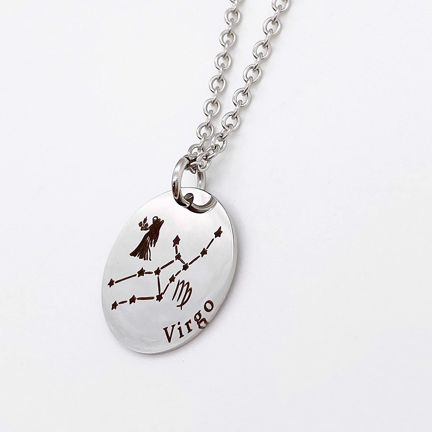 """Stainless Steel Personalized Engraved Virgo Symbol Zodiac Pendant on 18/"""" Chain"""