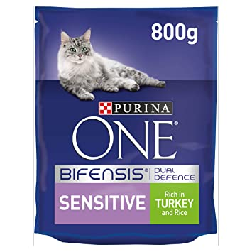 Purina ONE Sensitive Cat Food Turkey and Rice 800g - Case of 4 (3 2kg)