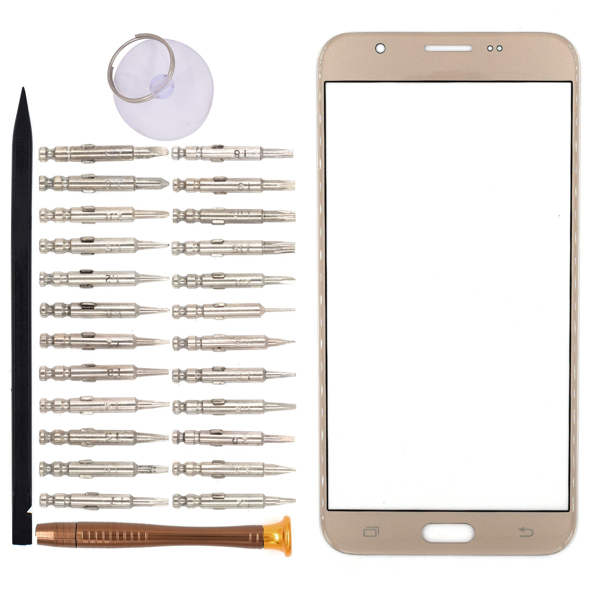 Vidrio Frente para Samsung Galaxy J7 oro [GOODYITOU]  (32G9)