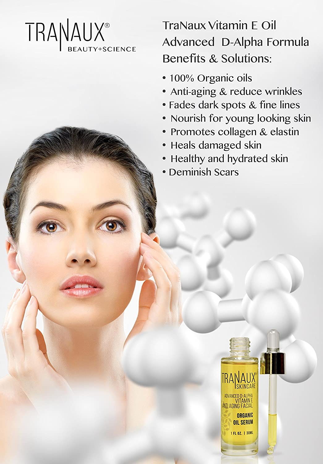 100% Organic Face Oil Serum by TraNaux Skincare - Pure Vitamin E Oil -  Reduce Wrinkles, Fine Line,